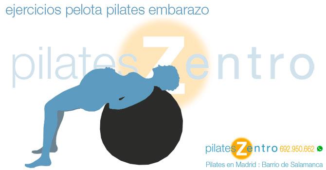Embarazada haciendo Ejercicios de Pilates con Pelota